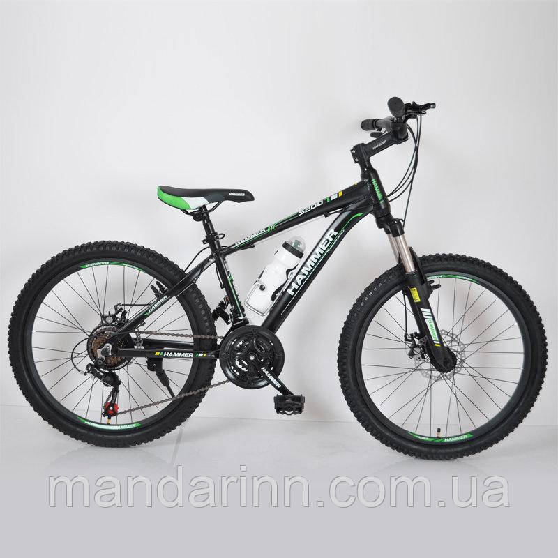 """Гірський велосипед 24"""" HAMMER Чорно-Зелений (black-green)"""