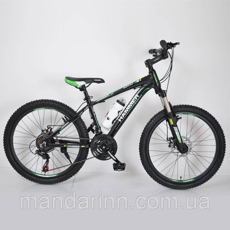 """Горный велосипед 24"""" HAMMER Черно-Зеленый (black-green)"""