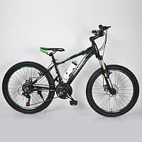 """Гірський велосипед 24"""" HAMMER Чорно-Зелений (black-green), фото 1"""