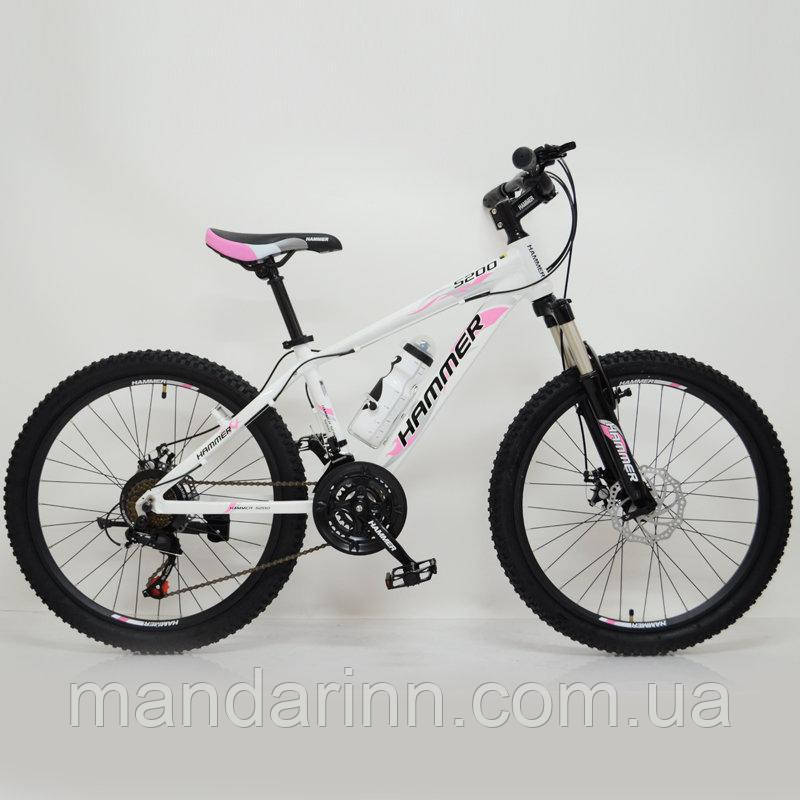 "Горный велосипед 24"" HAMMER Бело-Розовый(white-pink)"