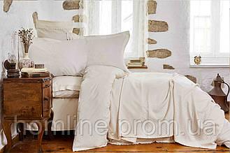 Набор постельное белье с пледом Karaca Home Julita bej бежевый евро размера Коллекция 2018