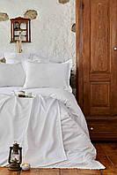 Набор постельное белье с пледом Karaca Home Julita white белый евро размера Коллекция 2018