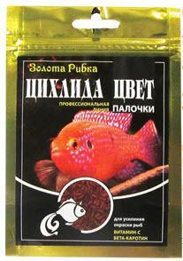 Корм Цихлида Цвет в палочках для усиления окраски рыб, ведро 5 л (1.4 кг)