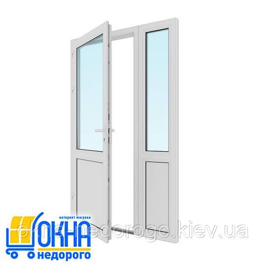 Полуторні вхідні пластикові двері 1,3х2,05
