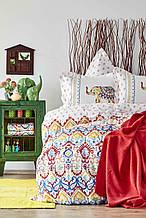 Постельное белье Karaca Home ранфорс Marodisa nar cicegi гранатовое полуторного размер Коллекция 2018
