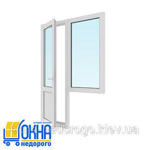 Балконный блок дверь 700*2050, окно 750*1350