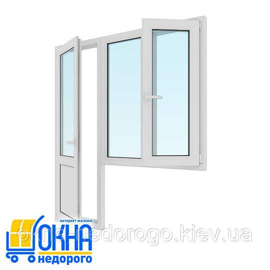 """Балконный блок ПВХ: дверь 700х2050, окно 1150х1350 от """"ОКНА НЕДОРОГО"""""""