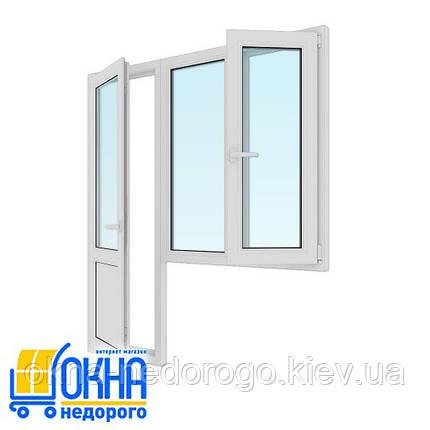 Балконный блок дверь 700*2050, окно 1150*1350 на две части одно поворотно-откидное, фото 2