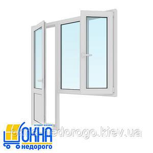 Балконний блок двері 700*2050, вікно 1150*1350 на дві частини одну поворотно-відкидне