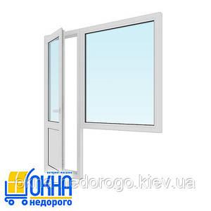Балконний блок двері 700*2050, вікно 1150*1350 глухе