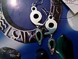 Сережки з каменем гранат в сріблі. Красиві сережки з гранатом., фото 5