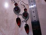 Сережки з каменем гранат в сріблі. Красиві сережки з гранатом., фото 4