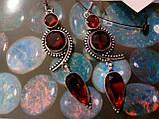 Сережки з каменем гранат в сріблі. Красиві сережки з гранатом., фото 2