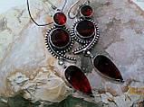 Сережки з каменем гранат в сріблі. Красиві сережки з гранатом., фото 3