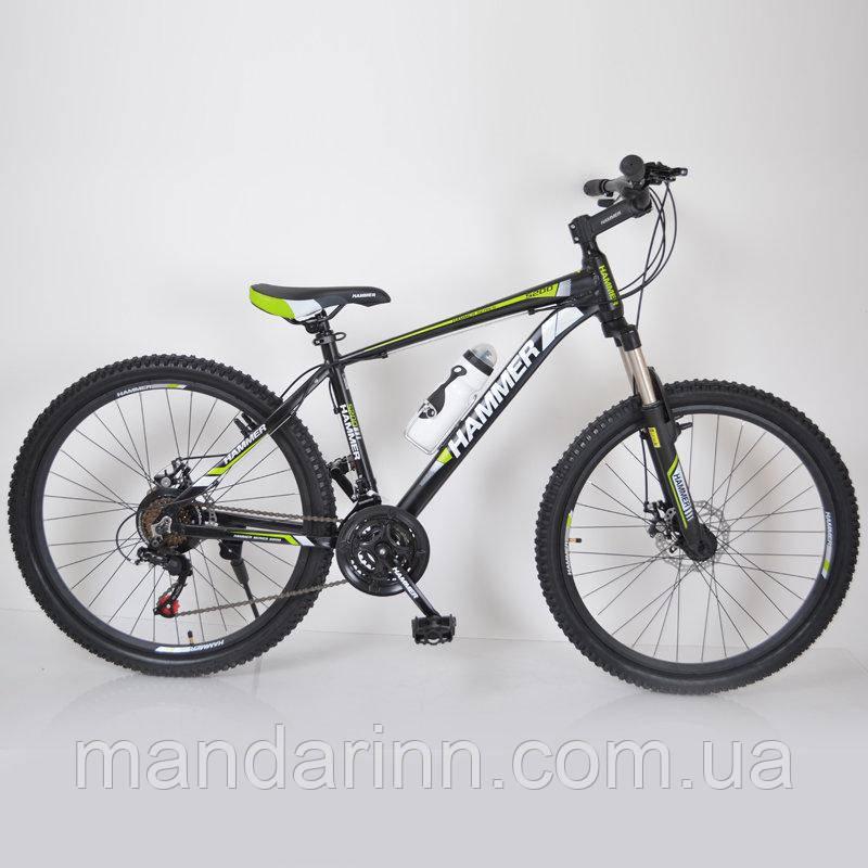 """Велосипед спортивный 26"""" HAMMER Черно-салатовый. Алюминиевая легкая рама."""