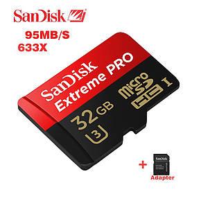 Карта памяти SanDisk Extreme Pro 32 Gb microSDHC UHS-I Card плюс adapter, фото 2