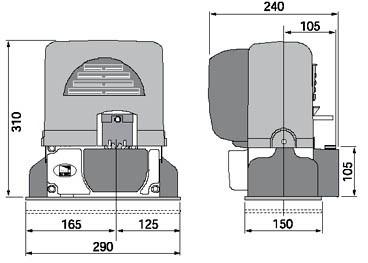 Габаритные размеры привода для откатных ворот BX-243