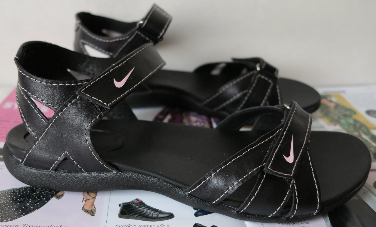 ebca377c Босоножки в стиле Nike лето 2019! Кожаные женские сандалии сандали обувь  спорт черные