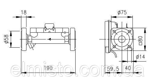 Габаритные размеры счетчикаULTRAHEAT 2WR708