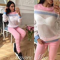 Костюм женский красивый свитер и штаны тонкая вязка 3 цвета SKl857