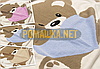 Детский плотный вязанный плед одеялко на выписку двухсторонний двойная вязка + подкладка 90х80 см 4032