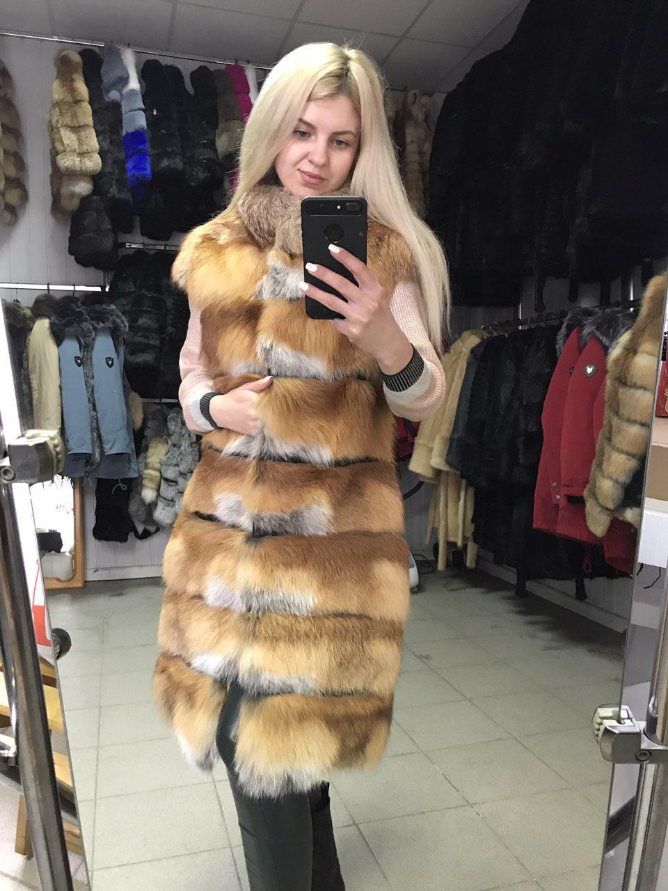 Меховая безрукавка из Украинской лисы с плечиком