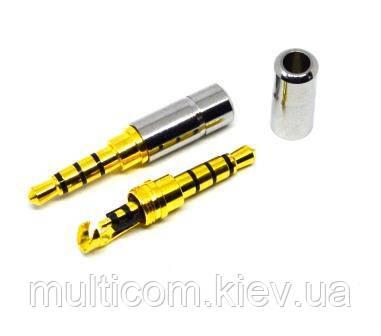 01-00-061. Штекер 3,5мм 4-х контактный, мини, gold pin, корпус металл