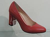 Туфли женские красные кожаные натуральные на каблуке, фото 1