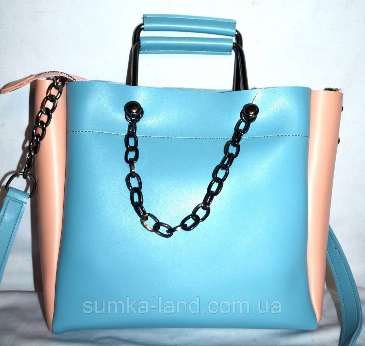 9f676fa7fb07 Женская голубая сумка B Elit с пудровыми вставками и ремешком на цепочке  25 24 см