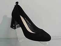 Элегантные женские туфли замшевые натуральные на не большем каблуке, фото 1