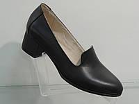 Туфли женские кожаные натуральные на удобном каблуке, фото 1