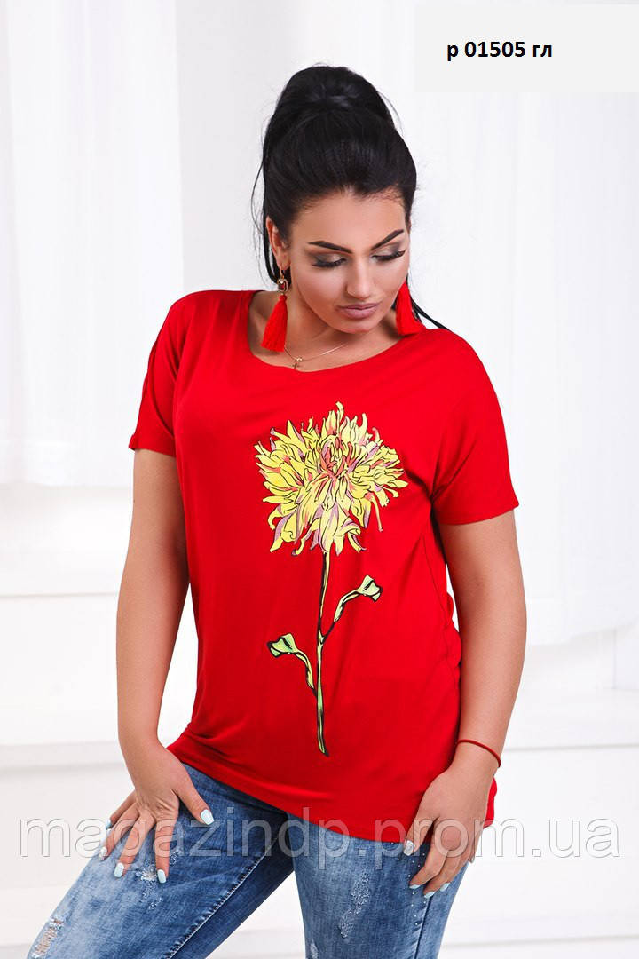 Женская футболка батальная   р 01505 гл Код:675274226