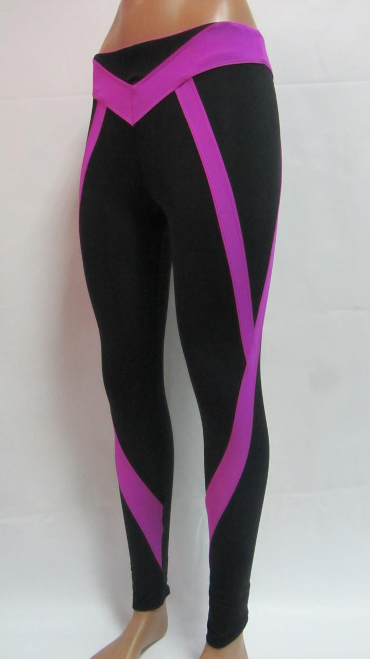 Лосины для фитнеса женские с фиолетовыми вставками