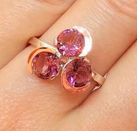 Кольцо серебряное с золотыми накладками 332 с турмалином