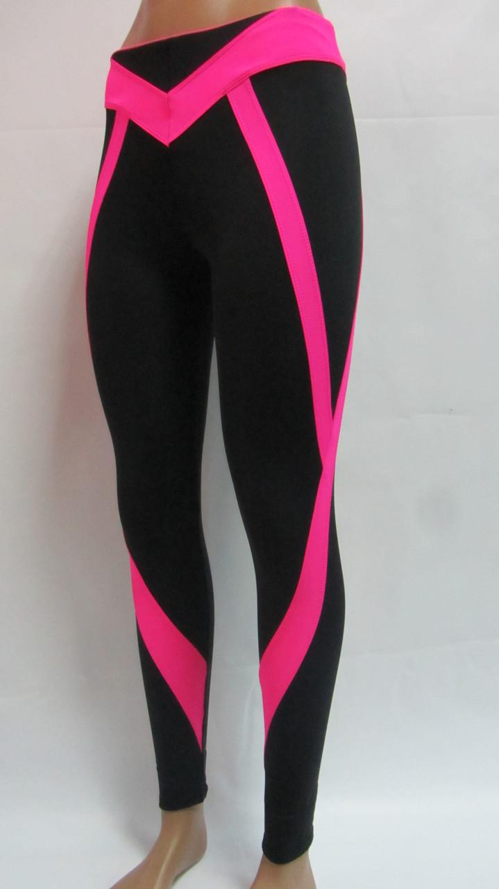 Лосины для фитнеса женские с розовыми вставками
