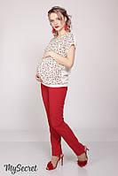 Зауженные брюки AVA, из тонкой костюмной ткани, темно-красные, фото 1