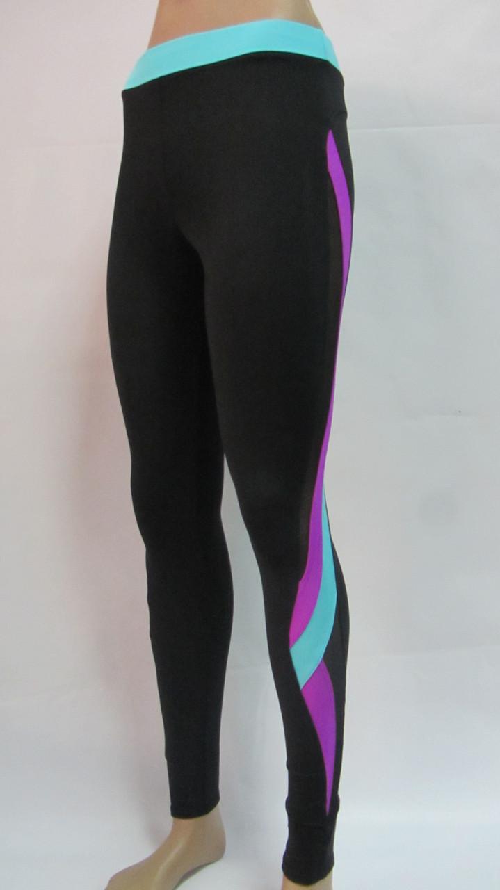 Лосины для фитнеса женские с цветными вставками + сетка