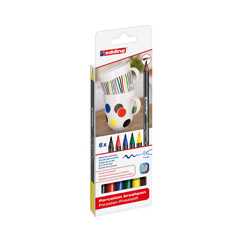 Набор маркеров Edding для фарфора Porcelain e-4200 горячей фиксации, 6 цветов