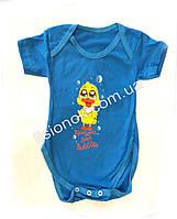 Бодик с коротким рукавом, синий с уточкой, 74-80см, хлопок