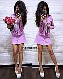 Женский стильный костюм стрейч-джинс: жакет и юбка-трапеция (4 цвета), фото 3