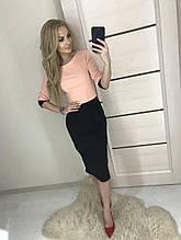 Платье женское облегающее 42-46р верх персик юбка черная
