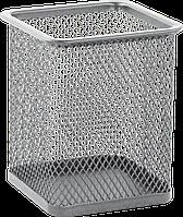 Металлическая подставка для ручек buromax bm.6201-24 серебристая квадратная