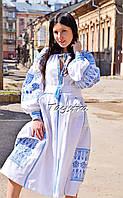 Вышитое платье бохо, свадебное платье лен, вишите плаття вишиванка, белое платье с вышивкой