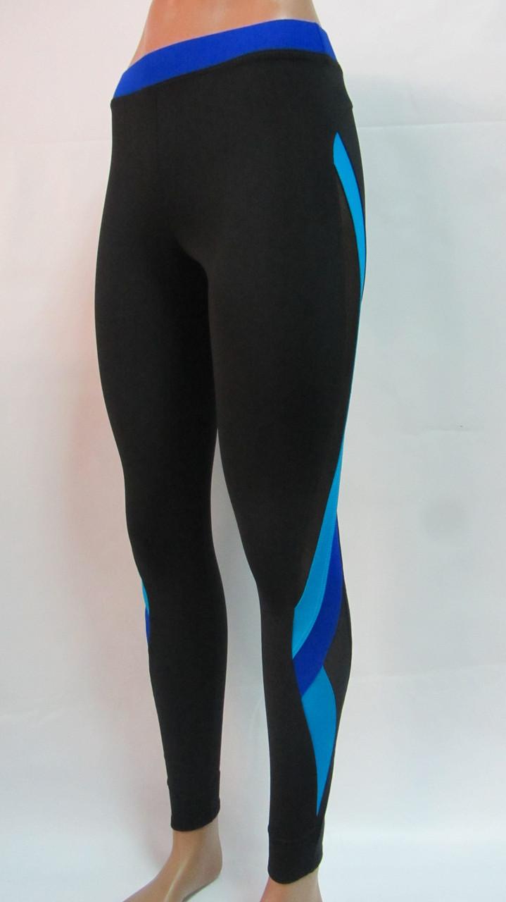 Лосины женские для фитнеса с цветными вставками + сетка