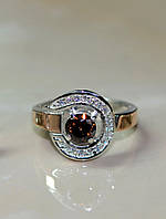 Серебряное кольцо с накладками из золота