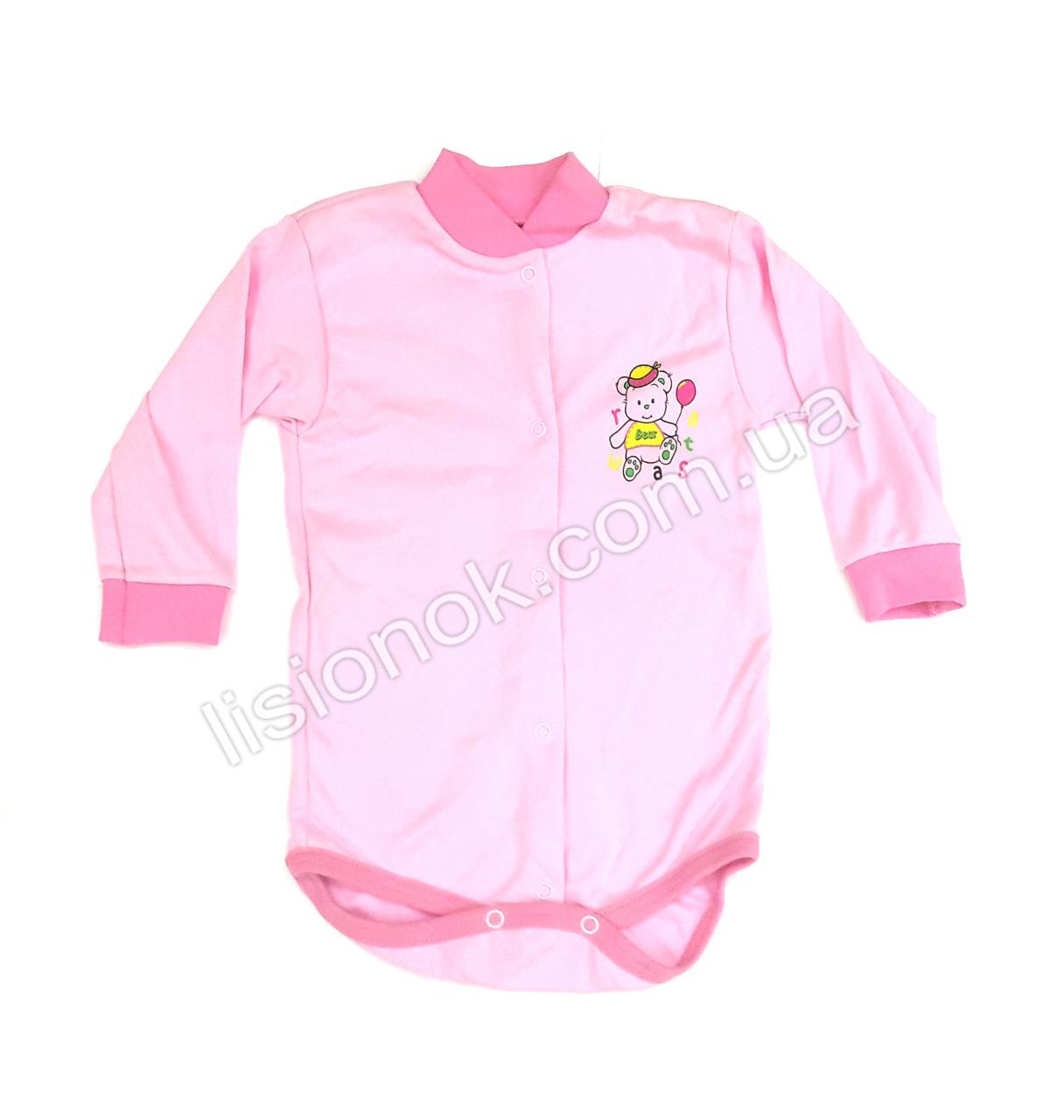 Бодик с длинным рукавом, розовый, 74см