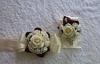 Бутоньерки для жениха и невесты, разные цвета