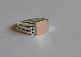 Серебряная печатка с золотом и фианитами