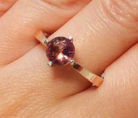 Кольцо серебряное с золотыми накладками Хлоя с турмалином