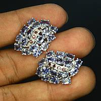 Серьги танзаниты родолит гранаты натуральные серебро 925